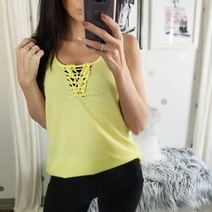 New Work Out Tank Racer Back Tank Top Neon Yellow